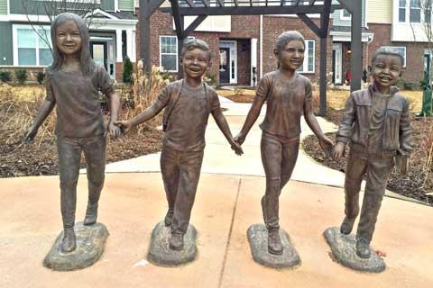 2017 design Custom Made Four Bronze Child Sculptures for Backyard Decor