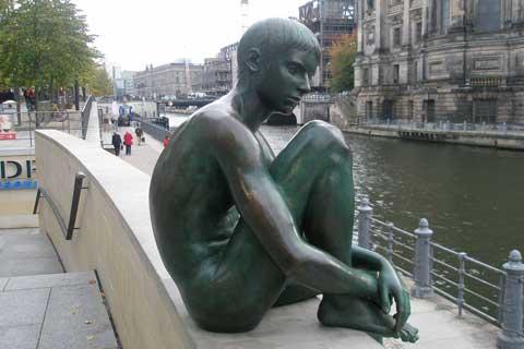 Bronze outdoor Sculpture Quiet Boy Near the River
