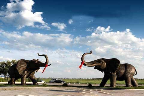 Exquisite design Large Antique Animal Statue Bronze Elephants Sculpture