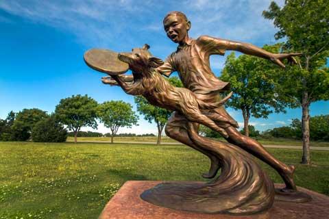 Garden design Decoration Bronze Boy Statue with Dog Sculpture for Sale