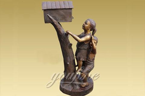 Outdoor Bronze mailbox sculpture with kids